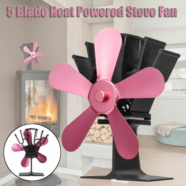 Stove Fan 5 Blades Fuel Saving Heat Powered For Wood Burner Fireplace Eco