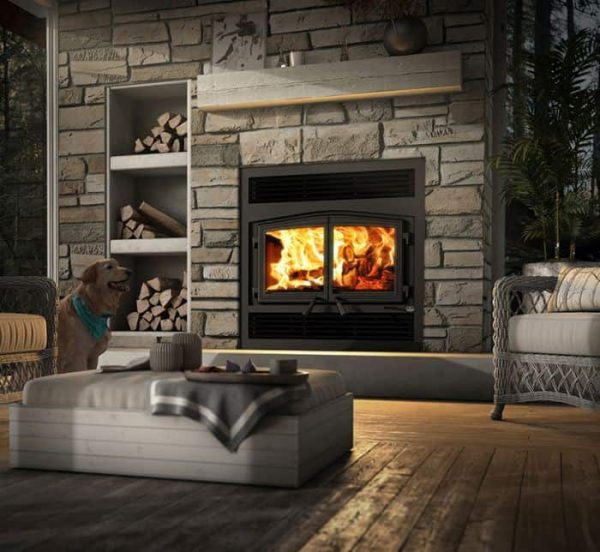 Stratford Wood Fireplace w/Traditional Faceplate and Black Overlay