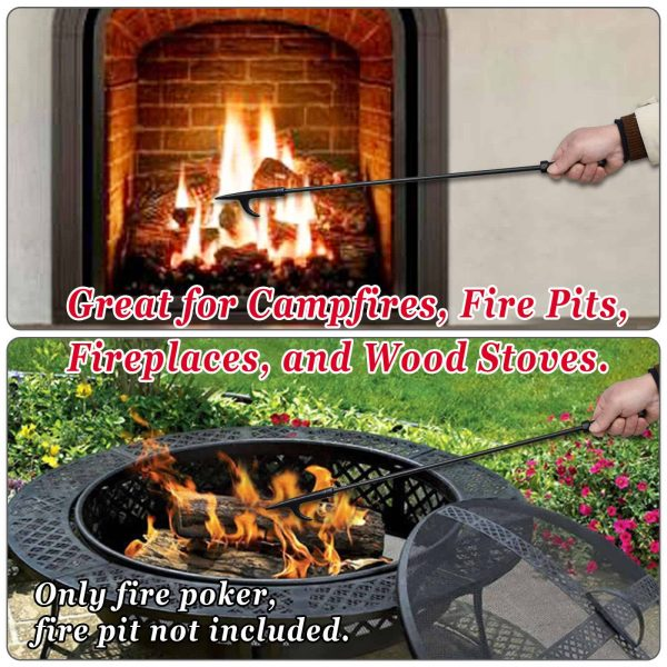 """Strong Camel Campfire Fireplace Fire Poker Tool Extra Long 26.5"""", Black 1"""