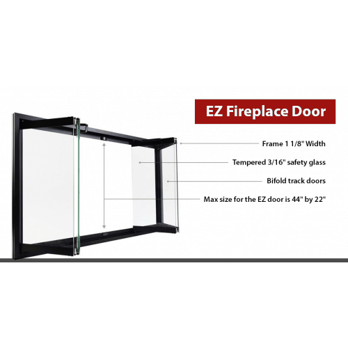 """Superior Bi-Fold Glass Fireplace Door 41"""" 