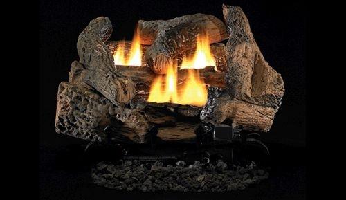 """Superior Fireplaces 18"""" Golden Oak Vent Free Gas Log Set with VD1824 Manual Burner - LP"""