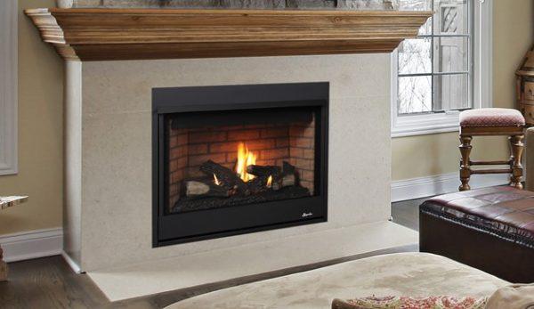 """Superior Fireplaces 35"""" RNC Millivolt Top Vent Fireplace w/Aged Oak Logs- LP"""