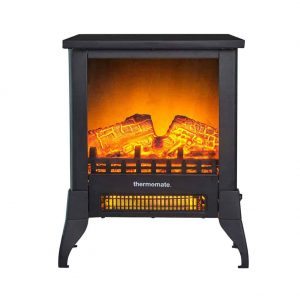 "Thermomate 15"" Freestanding Black Portable Electric Fireplace with Realistic Flame and Burning Log Effect"