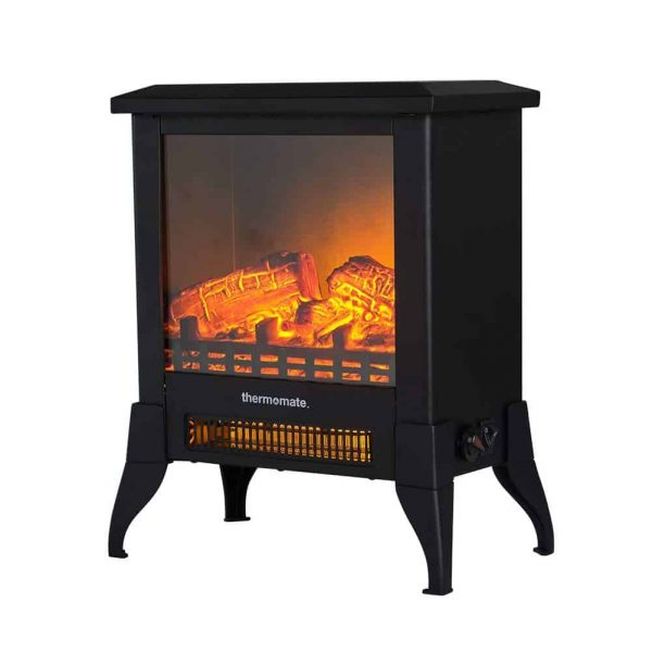 "Thermomate 15"" Freestanding Black Portable Electric Fireplace with Realistic Flame and Burning Log Effect , CSA Approved 3"