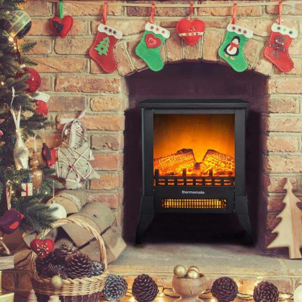 "Thermomate 15"" Freestanding Black Portable Electric Fireplace with Realistic Flame and Burning Log Effect , CSA Approved 4"