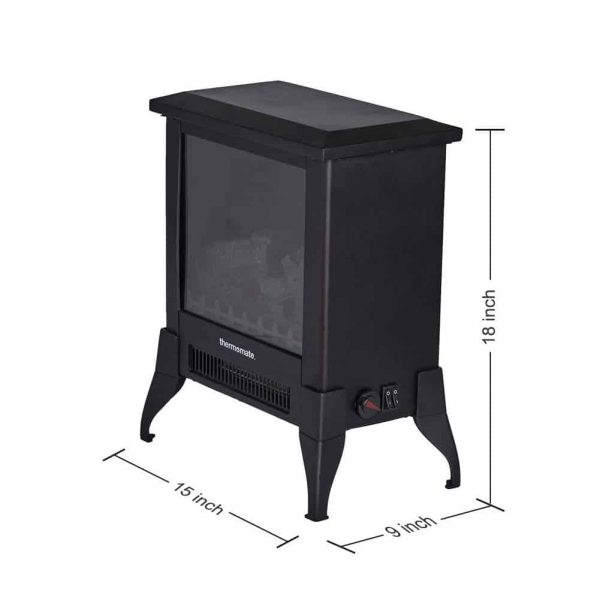 "Thermomate 15"" Freestanding Black Portable Electric Fireplace with Realistic Flame and Burning Log Effect , CSA Approved 5"