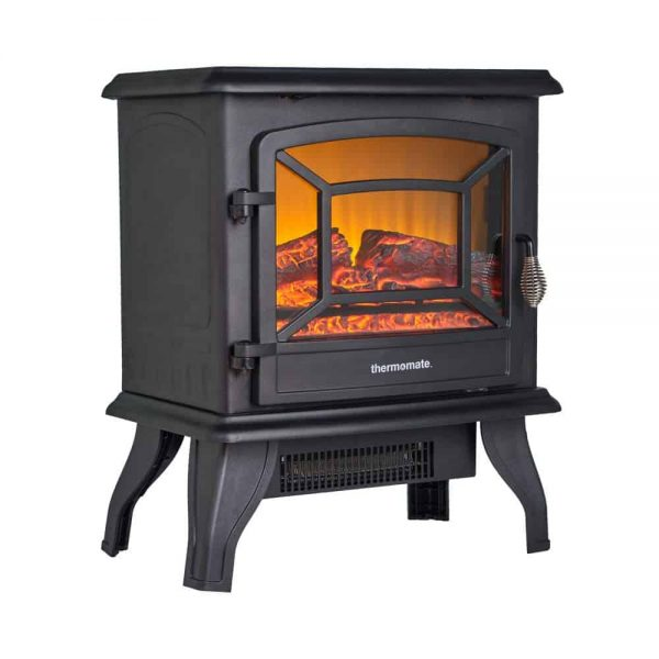"Thermomate 17"" Freestanding Black Portable Electric Fireplace with Realistic Flame and Burning Log Effect, CSA Approved 1"