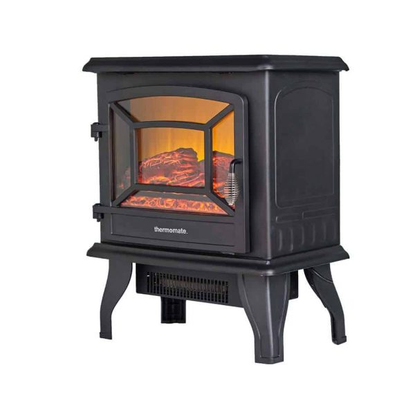 "Thermomate 17"" Freestanding Black Portable Electric Fireplace with Realistic Flame and Burning Log Effect, CSA Approved 2"