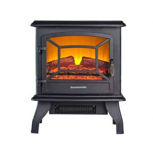 "Thermomate 17"" Freestanding Black Portable Electric Fireplace with Realistic Flame and Burning Log Effect"