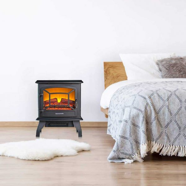 "Thermomate 17"" Freestanding Black Portable Electric Fireplace with Realistic Flame and Burning Log Effect, CSA Approved 3"