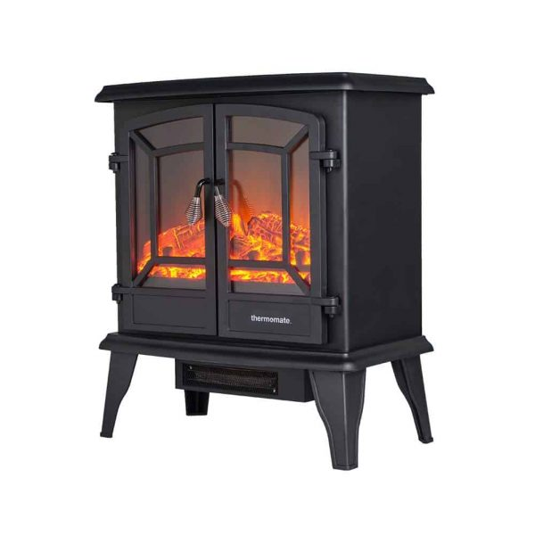 "Thermomate 20"" Freestanding Black Portable Electric Fireplace with Realistic Flame and Burning Log Effect , CSA Approved 1"