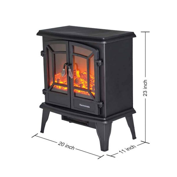 "Thermomate 20"" Freestanding Black Portable Electric Fireplace with Realistic Flame and Burning Log Effect , CSA Approved 5"