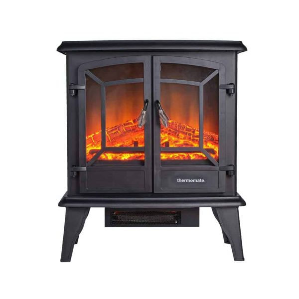 "Thermomate 20"" Freestanding Black Portable Electric Fireplace with Realistic Flame and Burning Log Effect"