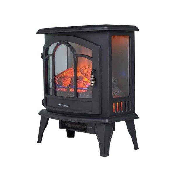"""Thermomate 20"""" Freestanding Black Portable Electric Fireplace with Remote Controller, Realistic Flame and Burning Log Effect, CSA Approved 1"""