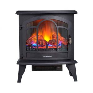 "Thermomate 20"" Freestanding Black Portable Electric Fireplace with Remote Controller"