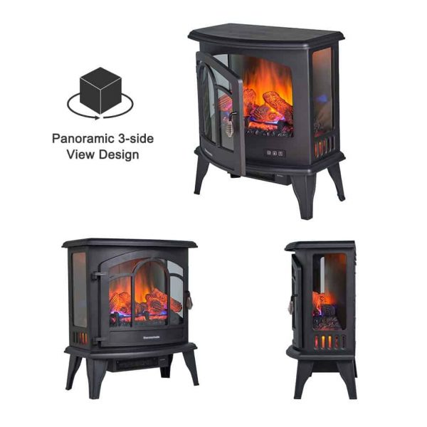 """Thermomate 20"""" Freestanding Black Portable Electric Fireplace with Remote Controller, Realistic Flame and Burning Log Effect, CSA Approved 2"""