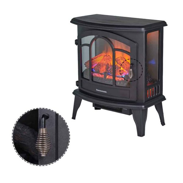 """Thermomate 20"""" Freestanding Black Portable Electric Fireplace with Remote Controller, Realistic Flame and Burning Log Effect, CSA Approved 3"""