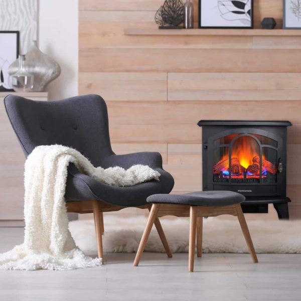 """Thermomate 20"""" Freestanding Black Portable Electric Fireplace with Remote Controller, Realistic Flame and Burning Log Effect, CSA Approved 4"""