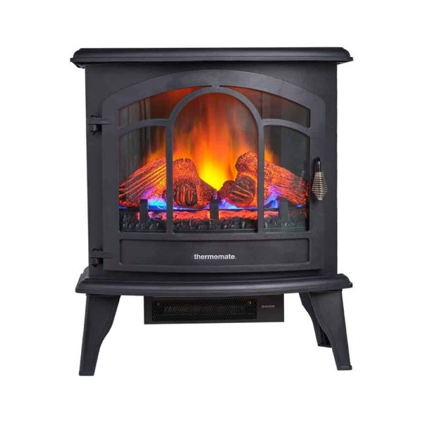 """Thermomate 20"""" Freestanding Black Portable Electric Fireplace with Remote Controller"""
