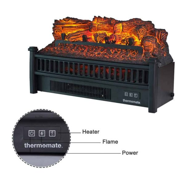 "Thermomate 23"" Freestanding Black Portable Electric Fireplace with Realistic Flame and Burning Log Effect , CSA Approved 2"