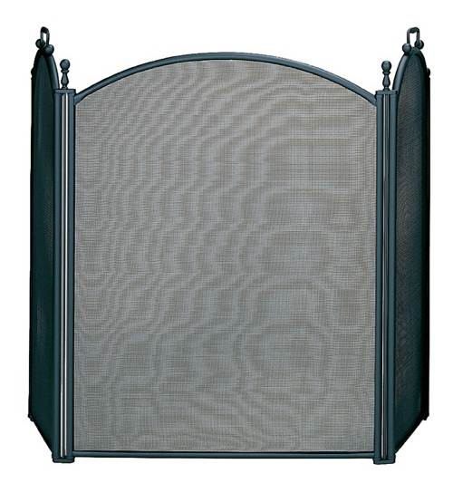 Three Fold Large Fireplace Screen w Woven Mesh & Black Finish