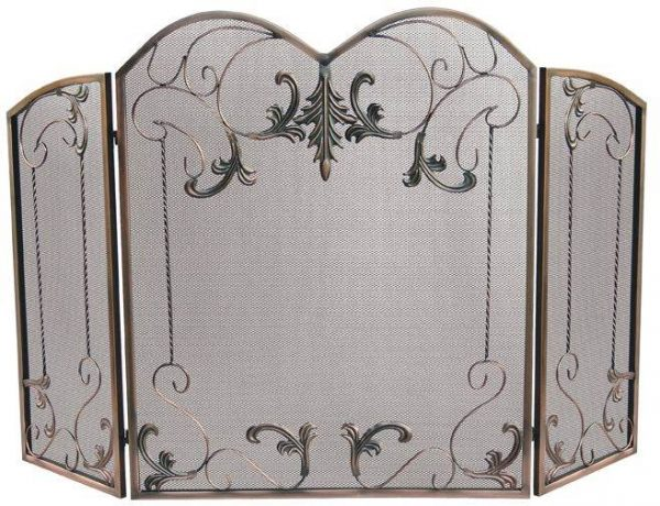 Three-panel Double-arched Bronze Mesh Fire Screen