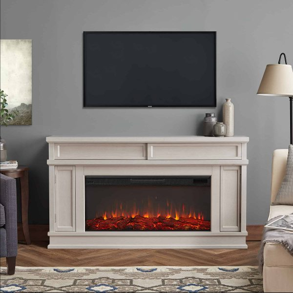 Torrey Electric Fireplace in Bone White by Real Flame