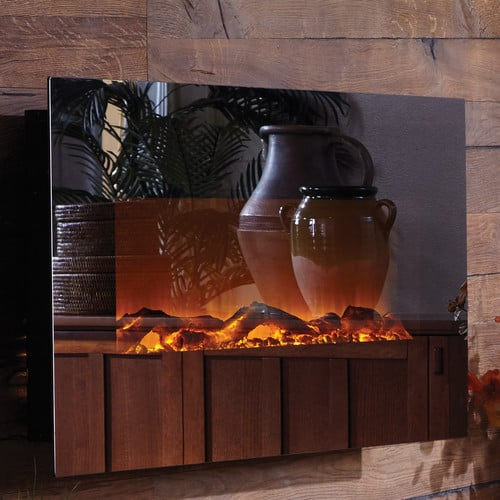 Touchstone Mirror Onyx Wall Mount Electric Fireplace