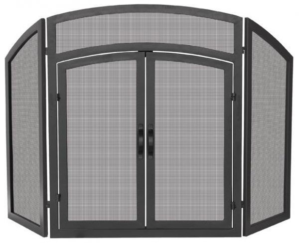 Tri-Fold Fireplace Screen w Doors & Black Finish