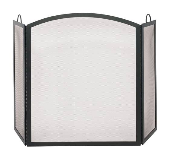 Tri-Fold Large Fireplace Screen w Arched Middle Panel