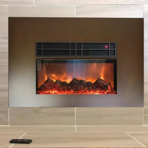 """True Flame electric fireplace insert by Y Decor. 24"""" with front surround"""