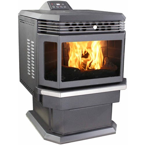200 Sq. Ft. Bay Front Pellet Stove with Ash Pan and Remote Control