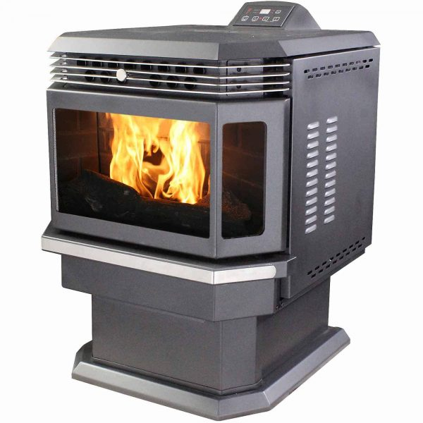US Stove 2,200 Sq. Ft. Bay Front Pellet Stove with Ash Pan and Remote Control 1