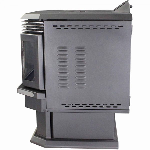 US Stove 2,200 Sq. Ft. Bay Front Pellet Stove with Ash Pan and Remote Control 3