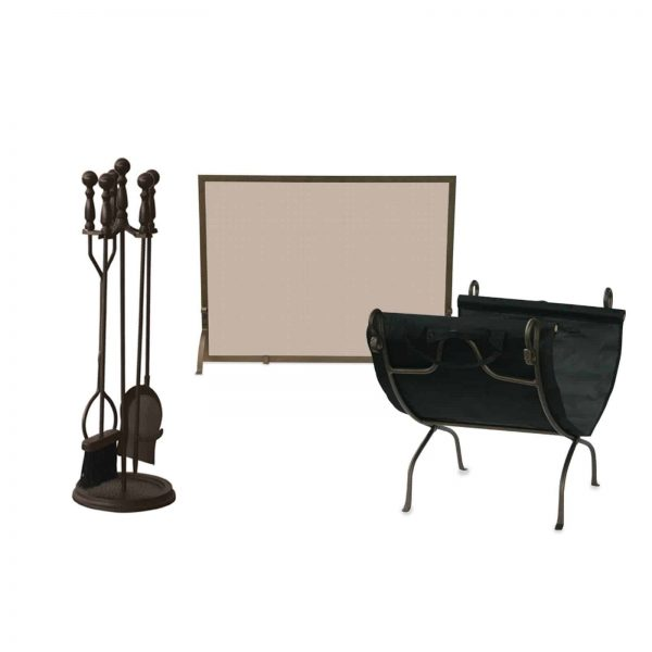 Unfilame 7 Piece Bronze Fireplace Ensemble