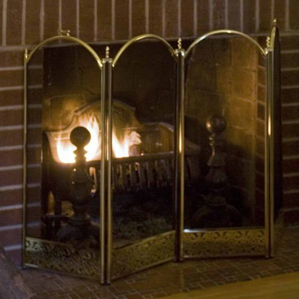 UniFlame 4 Panel Brass Filigree Fireplace Screen 2