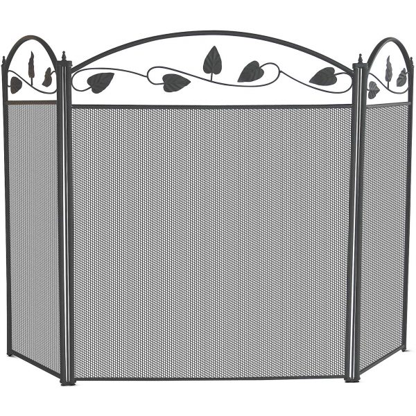 Uniflame 3-Fold Black Fireplace Screen with Leaf Motif
