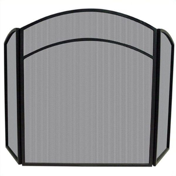 Uniflame 3 Fold Black Wrought Iron Arch Top Screen 1