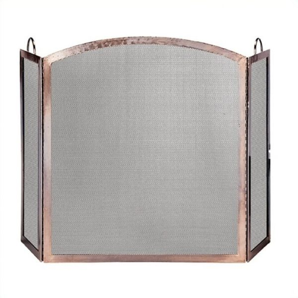 Uniflame 3 Panel Antique Copper Screen With Arched Center Panel 1