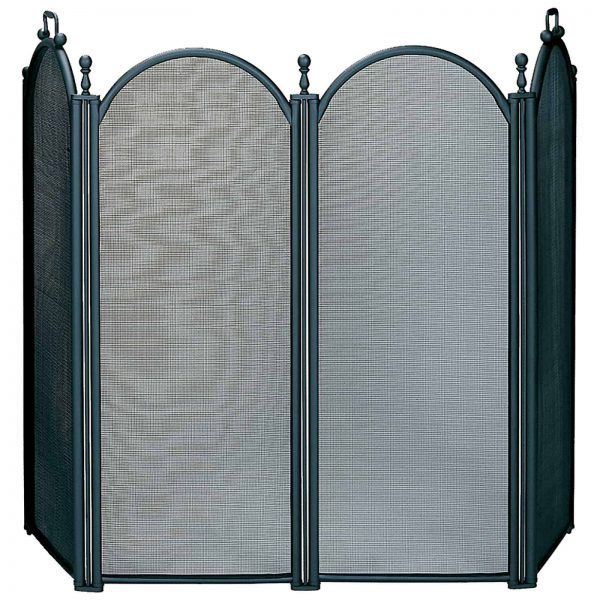 Uniflame 4 Panel Deluxe Plated Woven Mesh Fireplace Screen 1