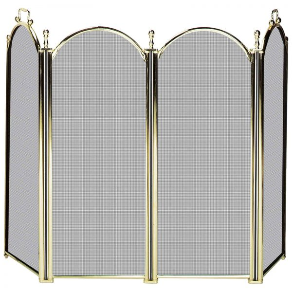 Uniflame 4 Panel Deluxe Plated Woven Mesh Fireplace Screen 2