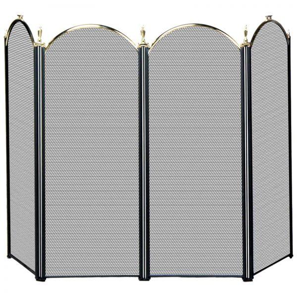 Uniflame 4 Panel Triple-Plated Folding Fireplace Screen 1