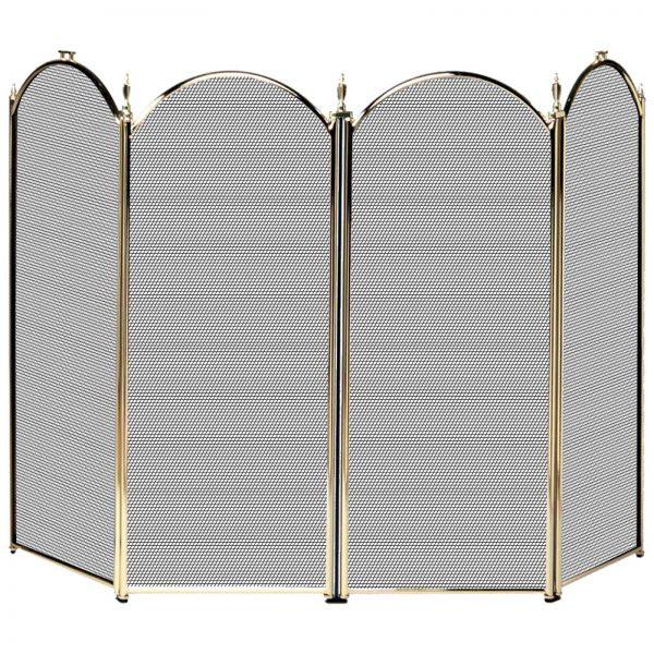 Uniflame 4 Panel Triple-Plated Folding Fireplace Screen 2