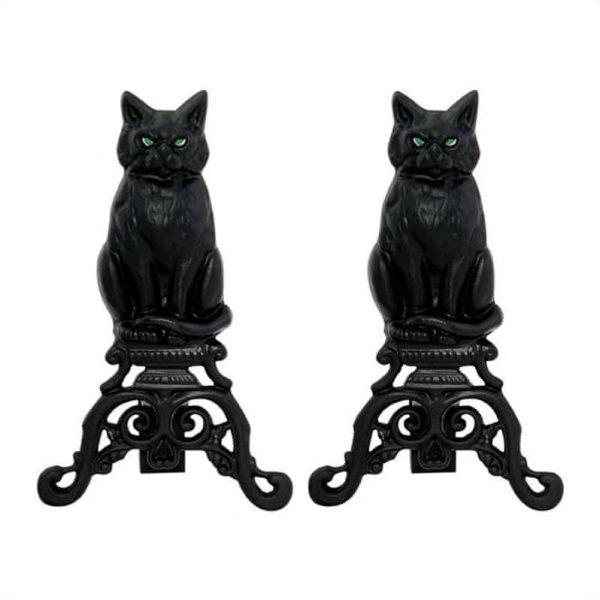 Uniflame Black Cast Iron Cat Andirons 1