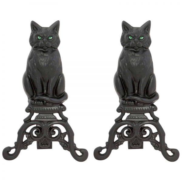 Uniflame Black Cast Iron Cat Andirons