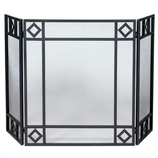 Uniflame Corporation 3 Panel Wrought Iron Fireplace Screen with Diamond Design 1