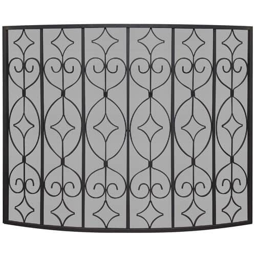Uniflame Corporation Single Panel Wrought Curved Ornate Fireplace Screen