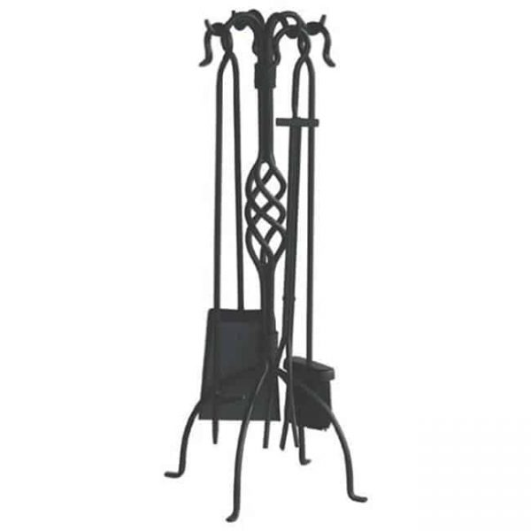 Uniflame F-1739 5 Piece Black Mission Fireset with Crook Handles