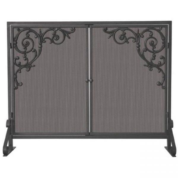Uniflame S-1471 Single Panel Olde World Iron Screen with Doors & Cast Scrolls