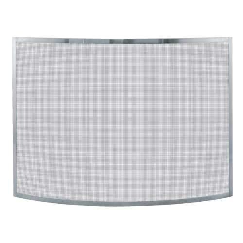 Uniflame S-1613 Single Panel Curved Pewter Finish Firplace Screen